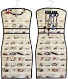 JSXD Hanging Jewelry Organizer,Dress-Like Double Side 84 Clear Pockets and 6 Hook Loops Storage for Holding Jewelries…