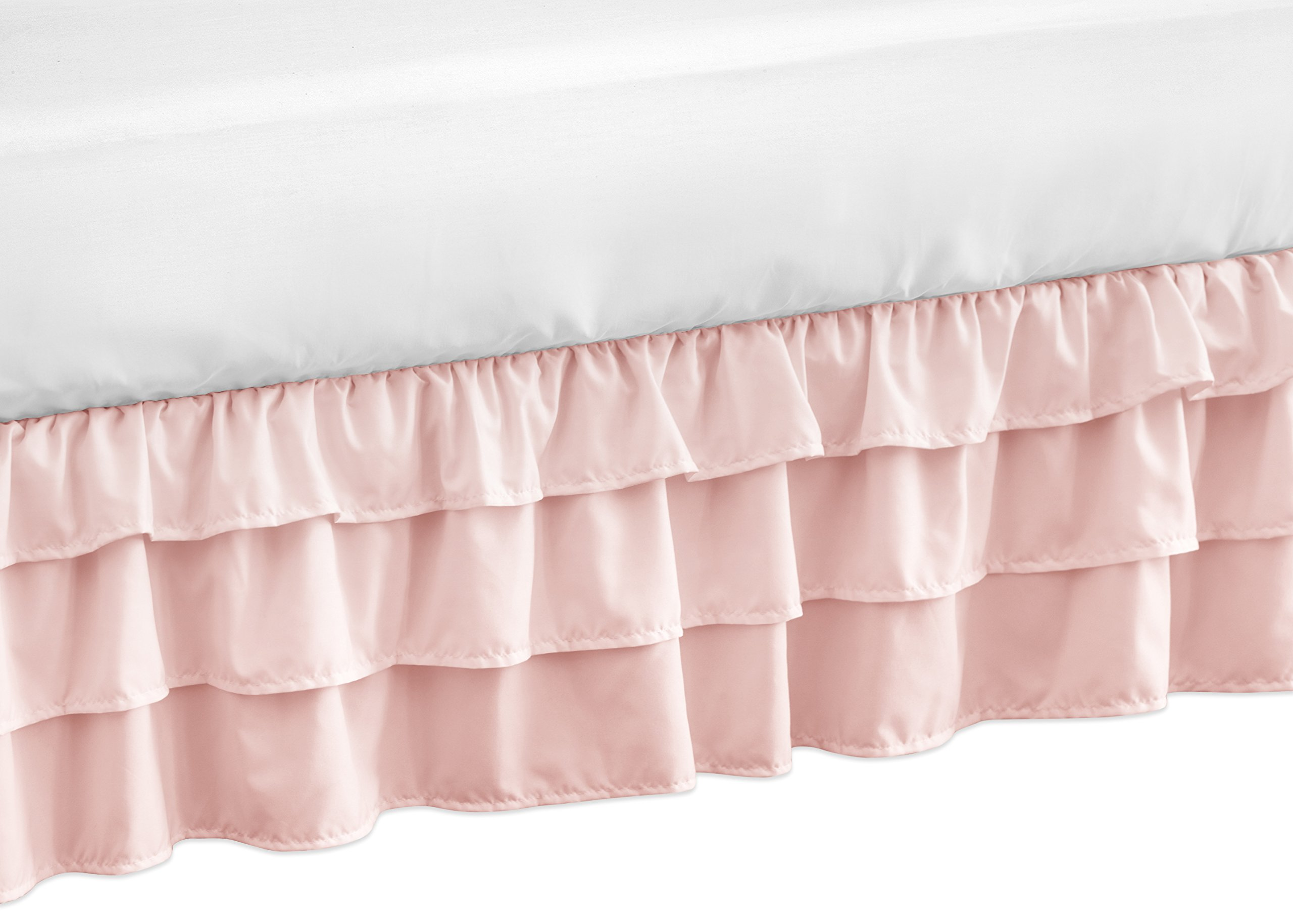 Solid Color Blush Pink Shabby Chic Girl Ruffled Tiered Crib Bed Skirt Dust Ruffle for Harper Collection by Sweet Jojo Designs
