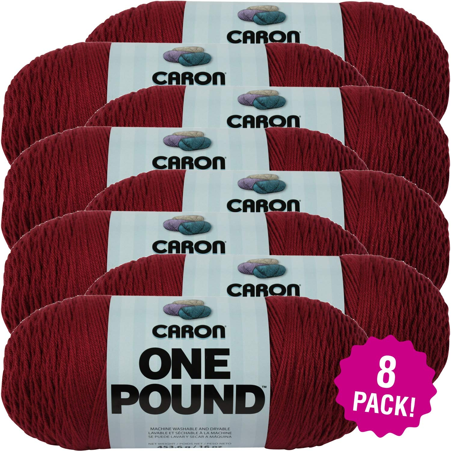 Caron 99554 One Pound Yarn-Country Rose, Multipack of 8, Pack