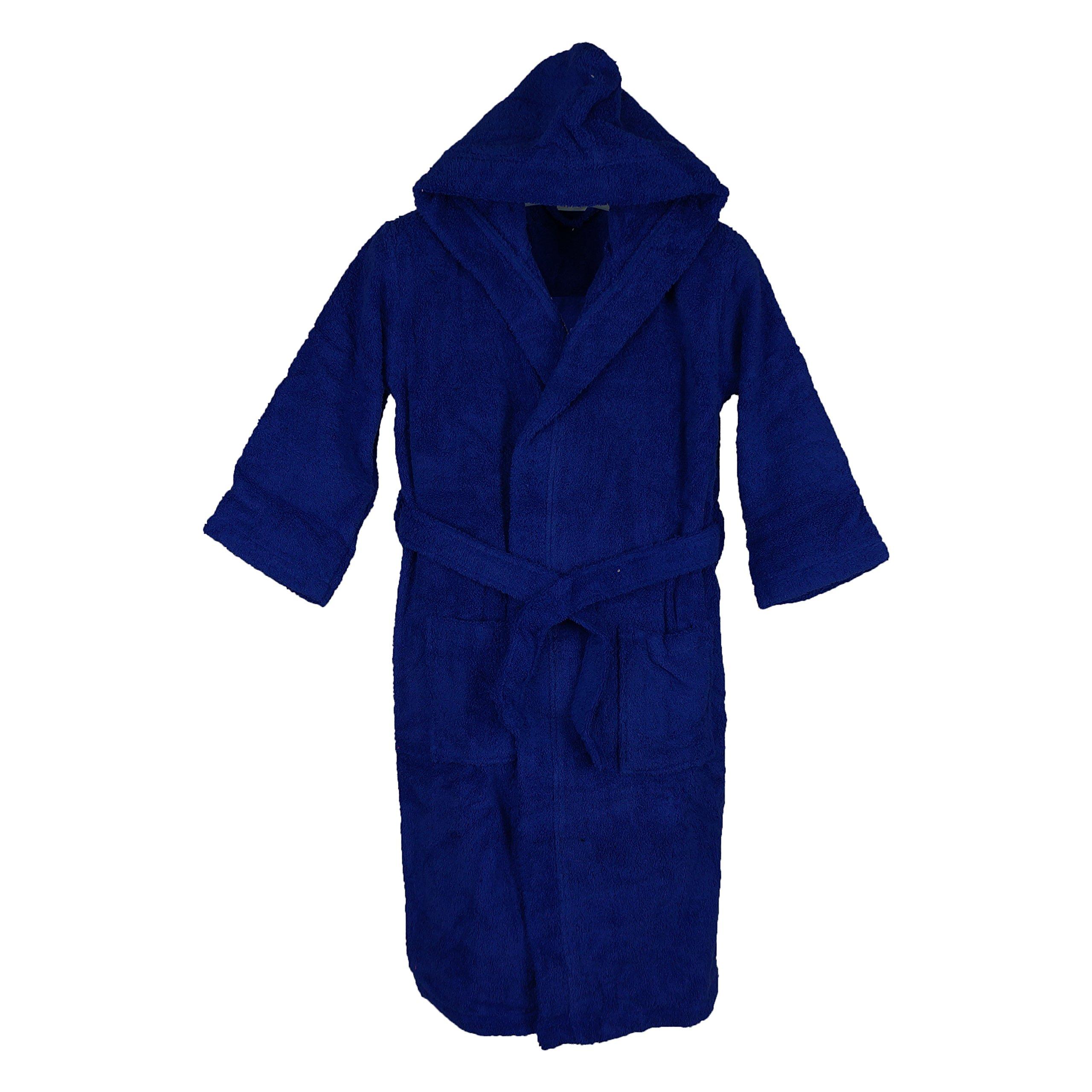 Silken Kids Teenagers Boys Hooded Robe Unisex 100% Turkish Cotton Terry Bathrobe (X-Large 44'' Length (12+ Ages), Navy)