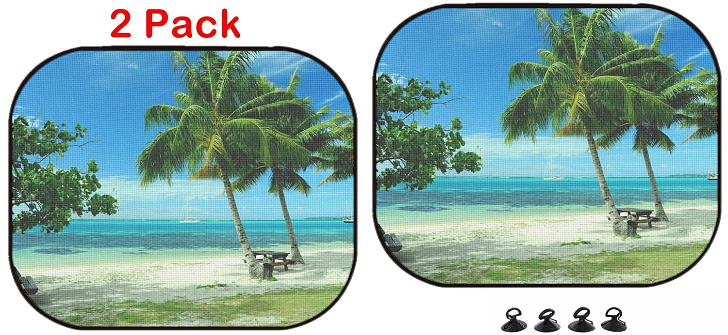 Luxlady Car Sun Shade Protector Block Damaging UV Rays Sunlight Heat for All Vehicles, 2 Pack Image ID: 19602620 Moorea Tahiti Beach Luxlady Inc.
