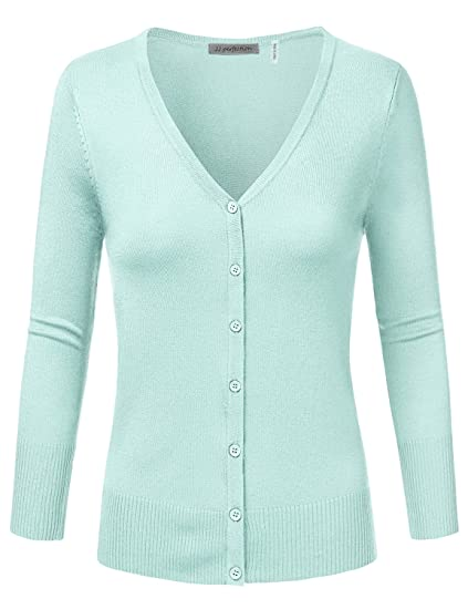 Jj Perfection Womens 34 Sleeve V Neck Button Down Knit Cardigan