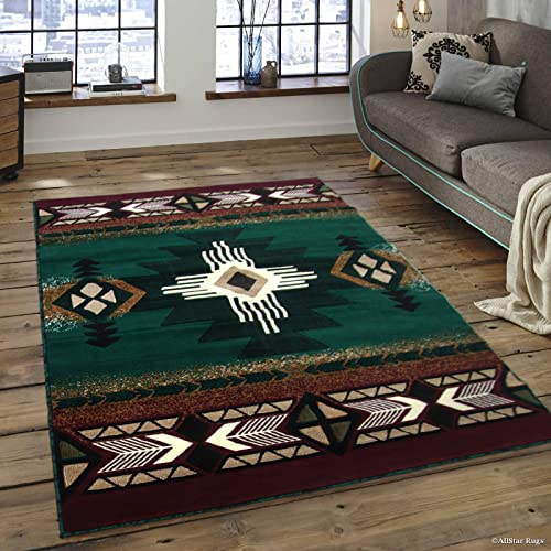Allstar 5X7 Hunter Green and Burgundy Navajo Machine Carved Effect Rectangular Accent Rug with Ivory and Mocha Southwestern Medallion Design 5 2 X 7 1