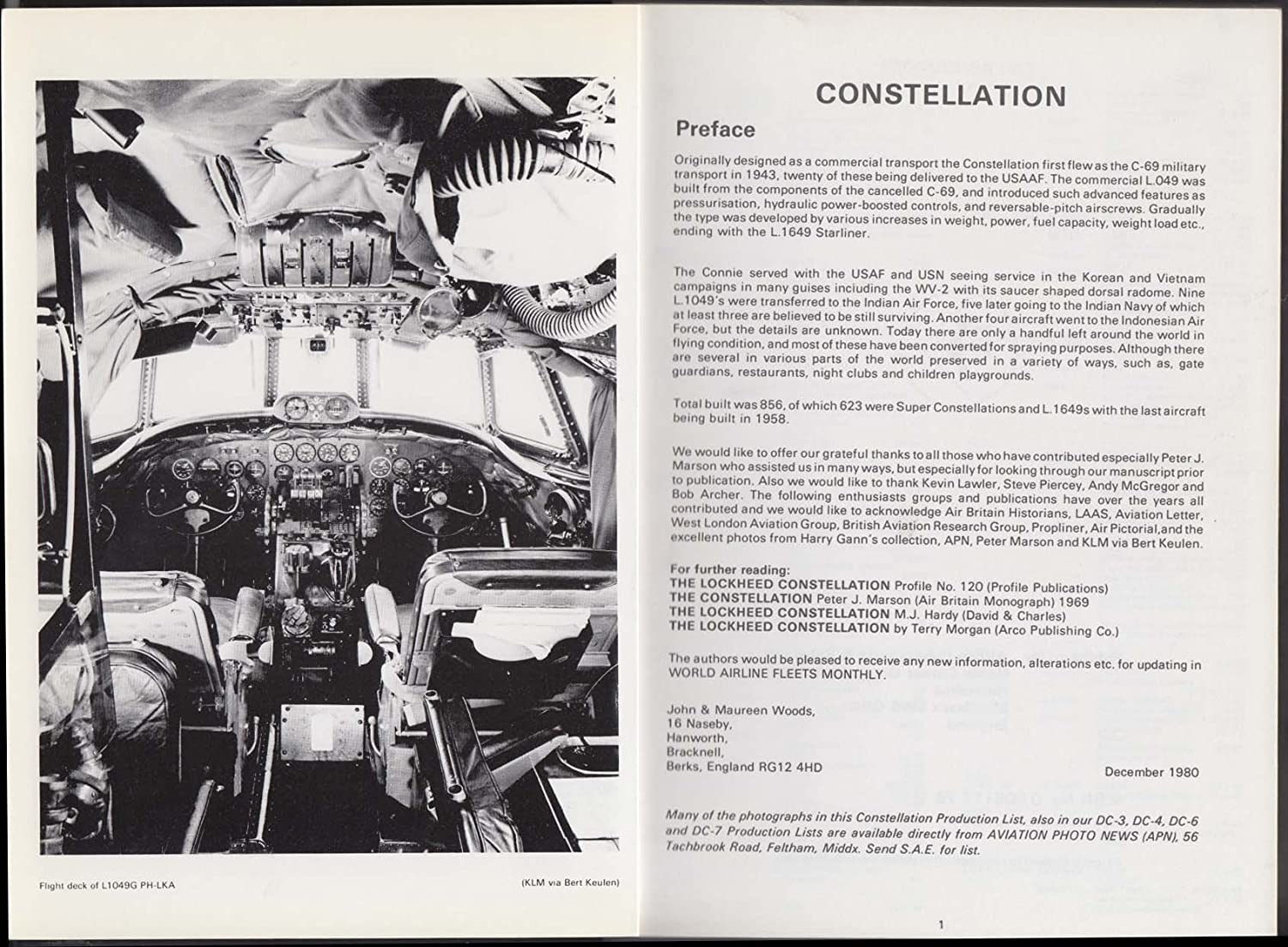 John & Maureen Woods: Lockheed Constellation Production List 1980 at