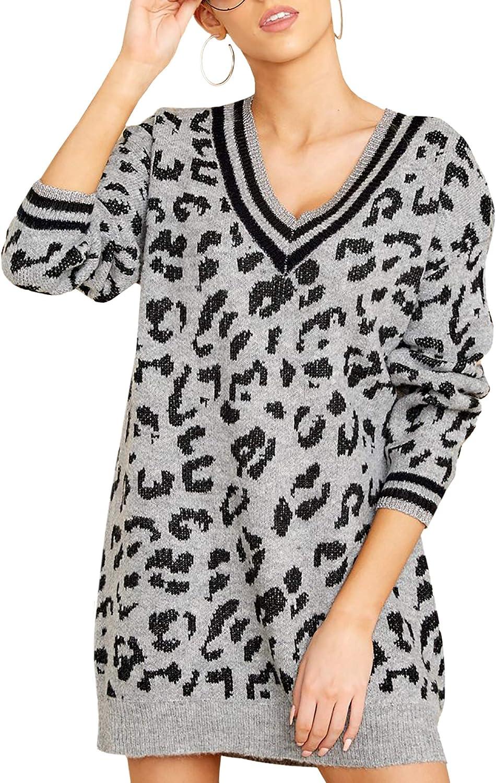 Jersey Mujer Invierno Leopardo Punto Largos Mujer Lana Jersey Cuello en V Manga Larga Elegante suéteres Jersey