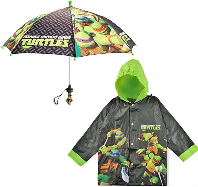 Nickelodeon Little Boys TMNT Slicker and Umbrella Rainwear Set, Black/Green, Age 2-7