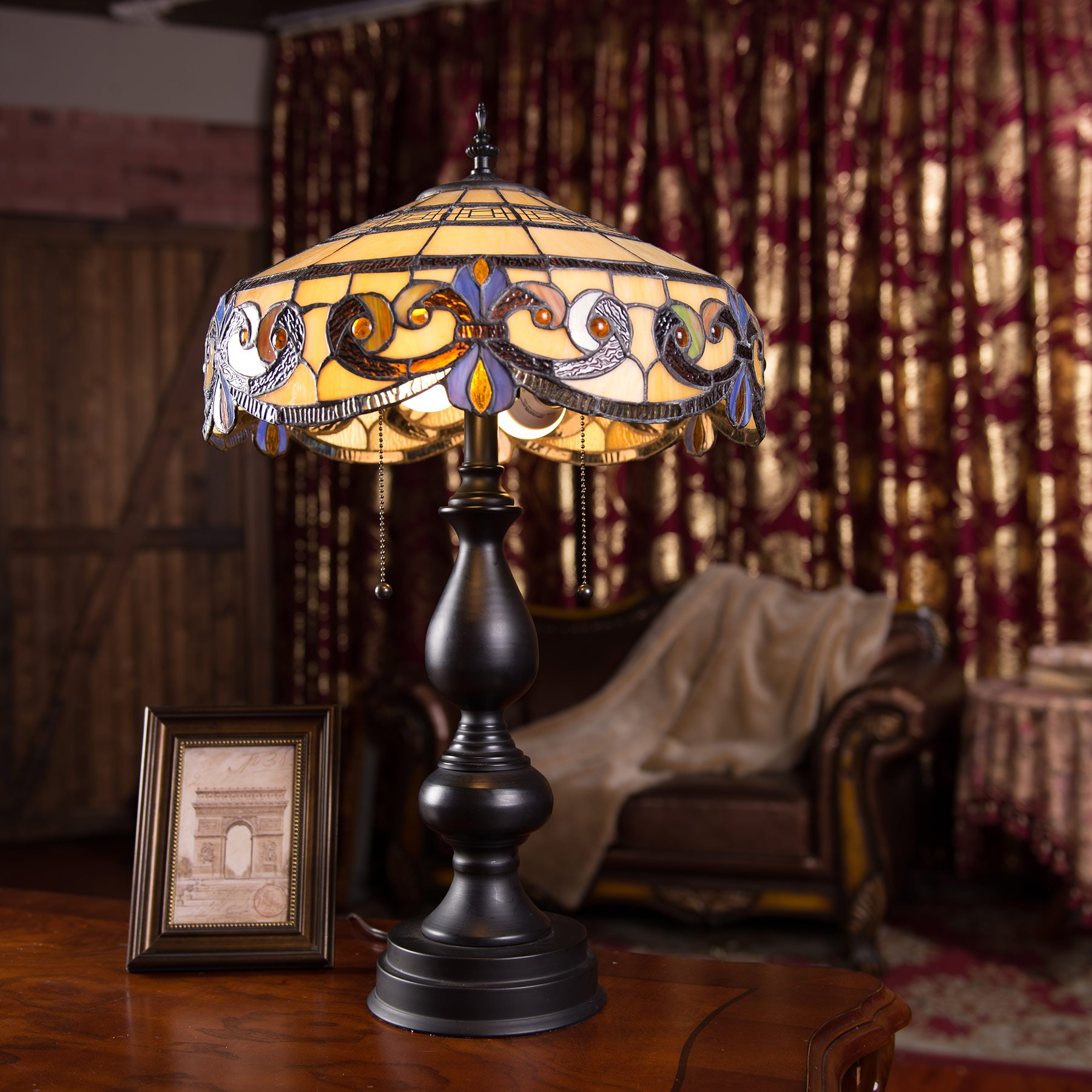 CO-Z Tiffany Style Table Lamps, 2-Light Victorian Desk Lamp with 16 Inches Stained Glass Shade, 25.5 Inches Height by CO-Z (Image #2)