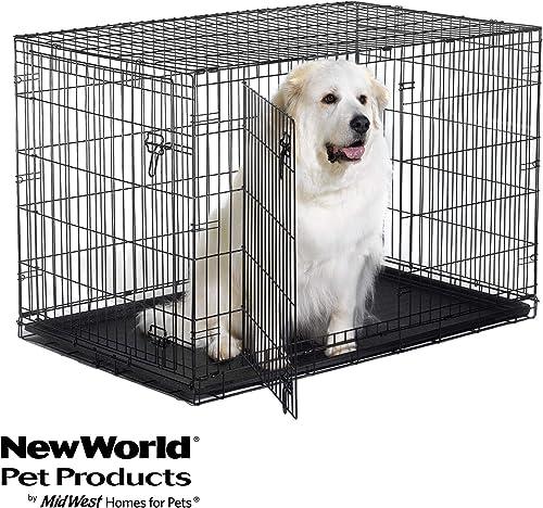Best metal dog crate: New World Folding Metal Dog Crate; Single Door & Double Door Dog Crates