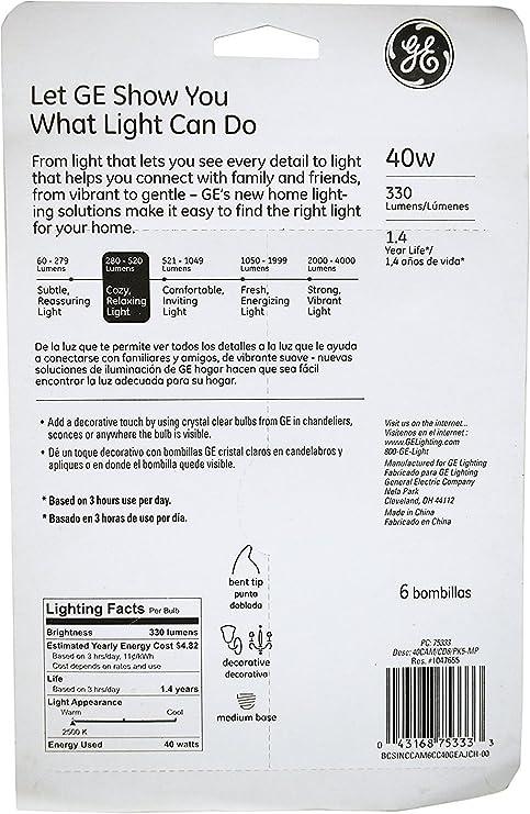 Set of 12 GE 75333 Crystal Clear 40 Watt Bent Tip Standard Base Light Bulbs! - - Amazon.com