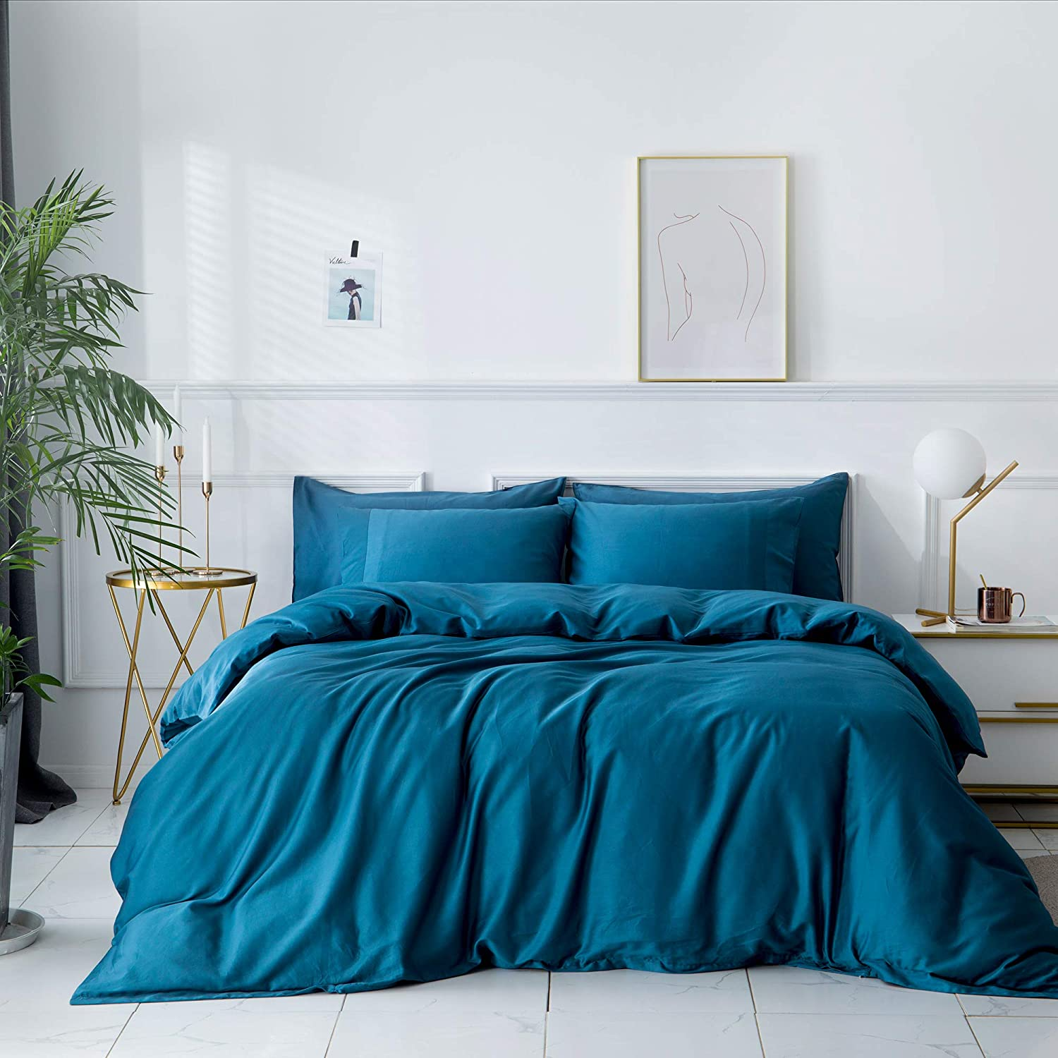 ZONDAWIND 5-Piece Egyptian Cotton Duvet Cover Queen with Zipper Closure, High Thread Count Long Staple Sateen Weave Silky Soft Breathable Pima Quality Bed Linen-Queen, Turkish Teal