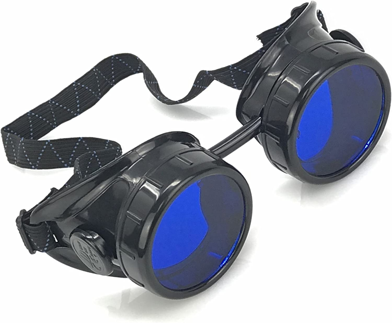 Blue Steampunk Crazy goggles Burning man festival costume Scientist  Halloween