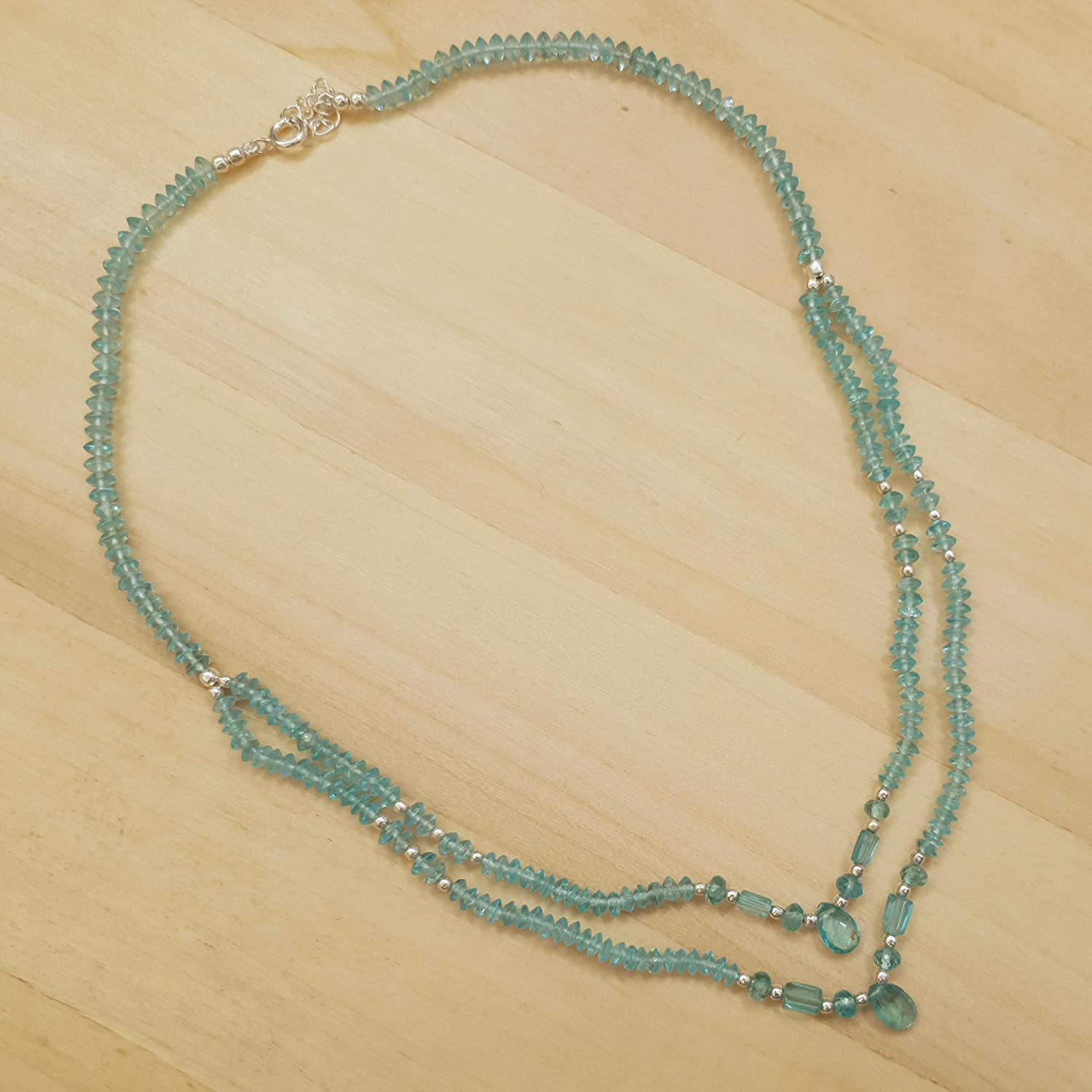 Blue Apatite Iolite Saucer Beads Necklace Strand Gift ideas for her September Birthday Jewelry Everyday Beaded Necklace
