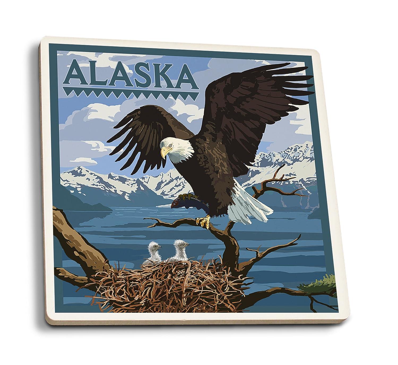 Bald Eagle Andアラスカ州のEaglets 4 Coaster Set LANT-33220-CT B01N8Y10SY  4 Coaster Set