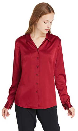 ec9d823c106d9c LilySilk Silk Shirts for Women Long Sleeve Basic Simple Style Pure Mulberry  19MM V Neck Work