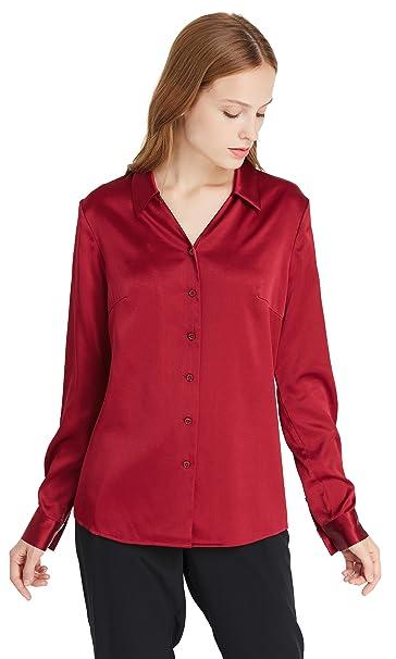 Lilysilk Camisa Mujer Cuello V 100% Seda Natural de 19 Momme Blusa Seda Mangas Largas