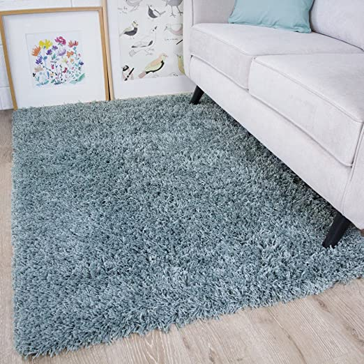 Amazon Com The Rug House Vancouver Duck Egg Blue Gray Soft Touch Easy Clean Living Room Shaggy Rugs 5 3 X 7 3 Furniture Decor