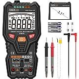Tacklife DM06 Multimetro Digitale Intelligente con Barra Analogica,6000 RMS valido. Misurazione Automaticamente per Tensione e Corrente AC/DC, Capacità, Frequenza, Temperatura, Transistor