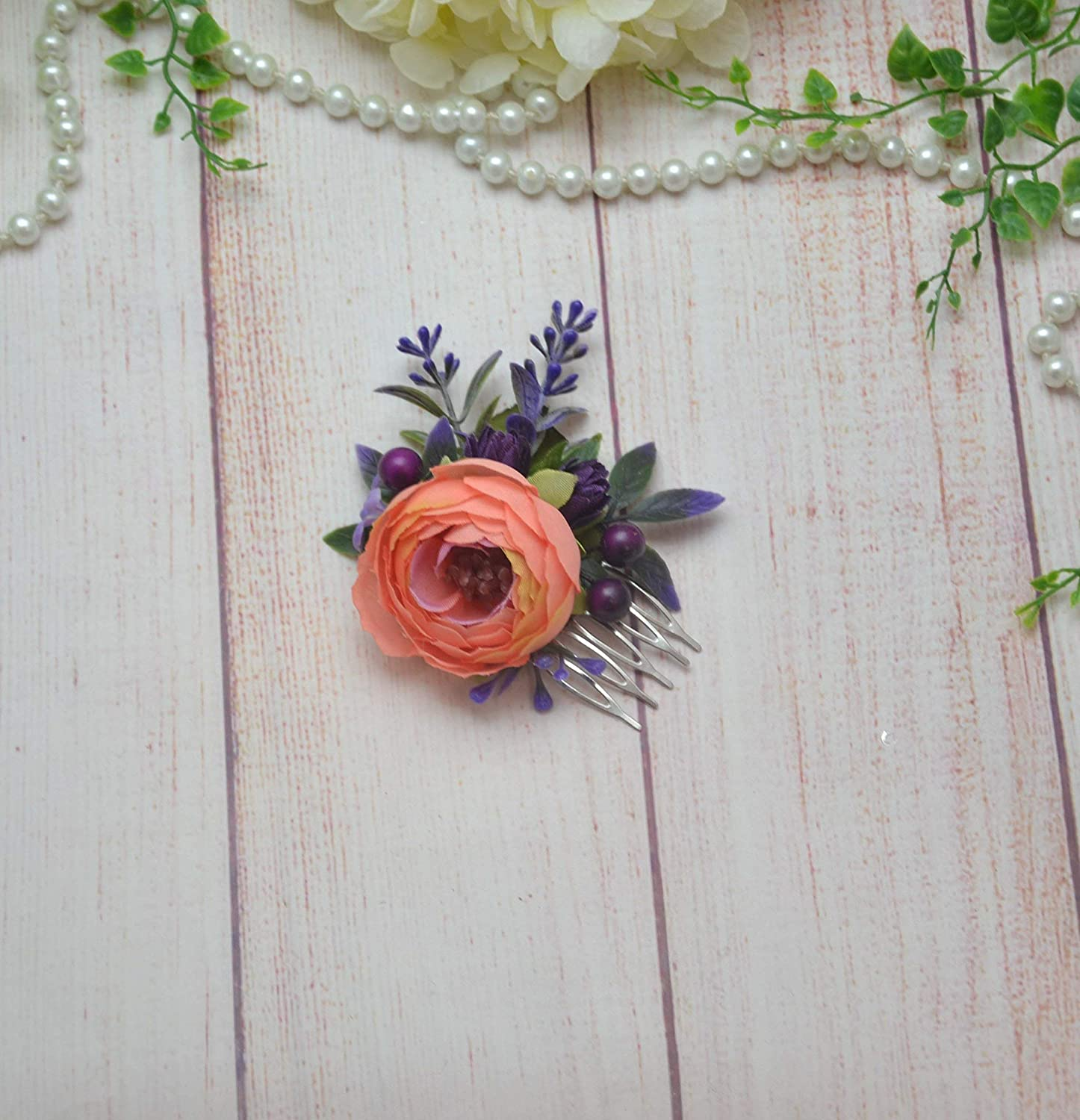 Peach flower comb for women wedding Purple floral comb for bride bridesmaid girl maid of honor