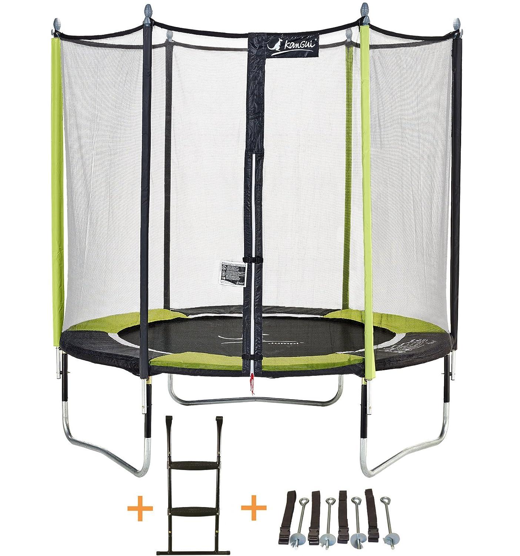 Kangui Gartentrampolin Jumpi Pop - Durchmesser 250 - 305 - 360 - 430 cm + Netz + Leiter + Kit Ankerstange