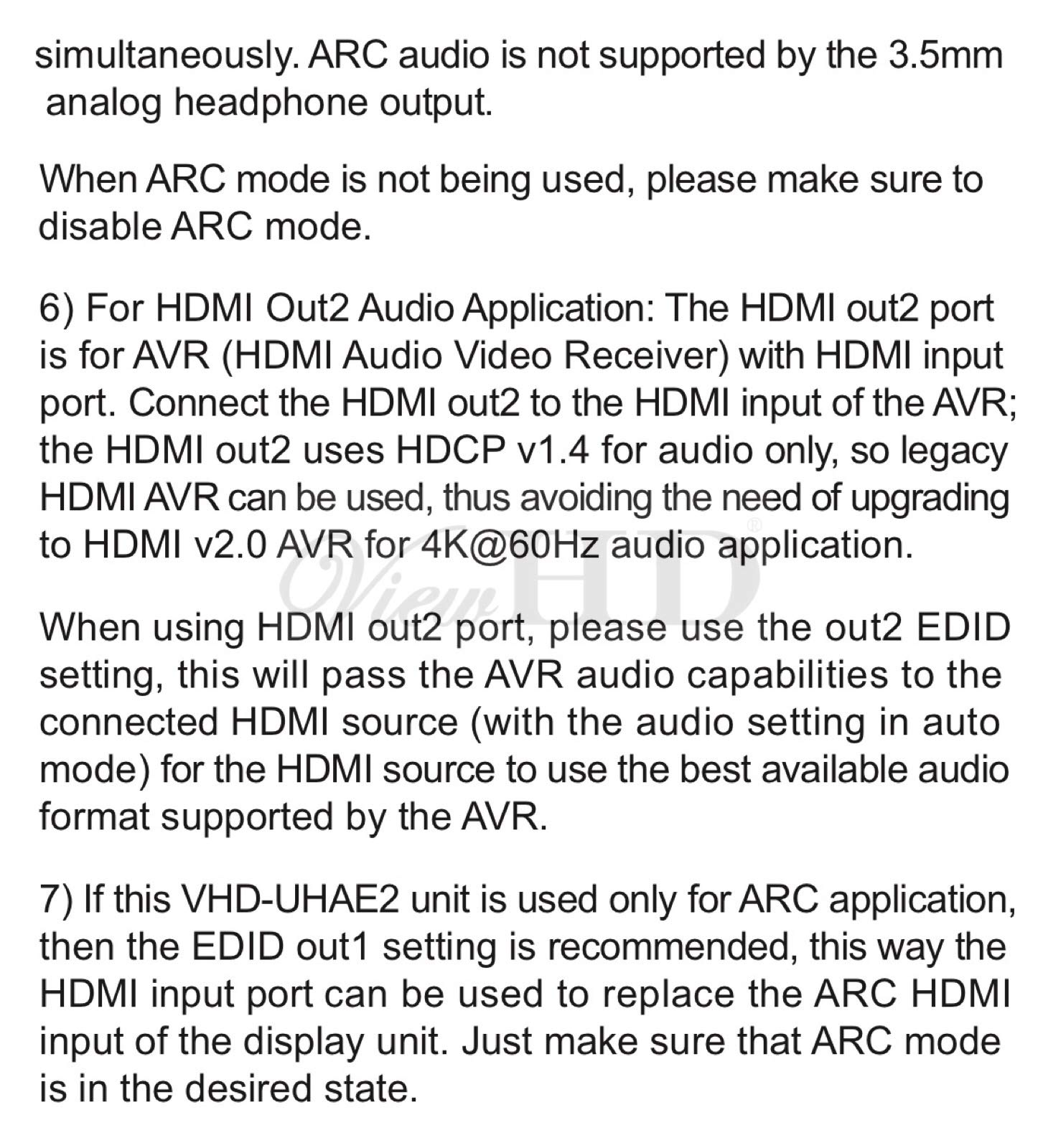 ViewHD UHD 18G HDMI Audio Extractor/Splitter Support HDMI v2.0 | HDCP v2.2 | 4K@60Hz | HDR | ARC | 3.5MM Analog Audio Output | Toslink Optical Audio Output | HDMI Audio Output | Model: VHD-UHAE2 by ViewHD (Image #10)