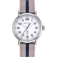 Nautica Wakeland NAPWLF921 - Reloj de pulsera para mujer (correa de nailon y cuarzo japonés), color beige