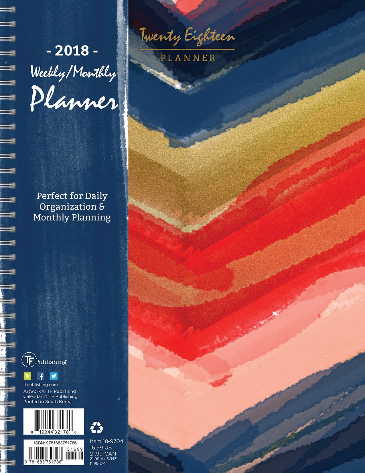 2018 painted waterolors large weekly monthly planner 9 x 11