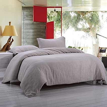 Simpleu0026Opulence 100% Stone Washed Linen Solid Color Basic Style King Queen  Twin Full Duvet Cover