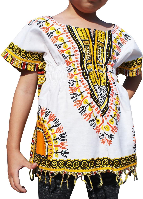 RaanPahMuang Childs Dashiki Shirt with Elastic Waist Open Collar White