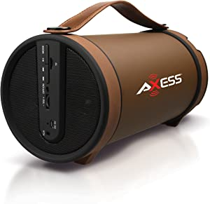 """AxessSPBT1033 Portable Bluetooth Indoor/Outdoor 2.1 Hi-Fi Cylinder Loud Speaker with Built-In 4"""" Sub and FM Radio, SD Card,AUX Inputs in Brown"""