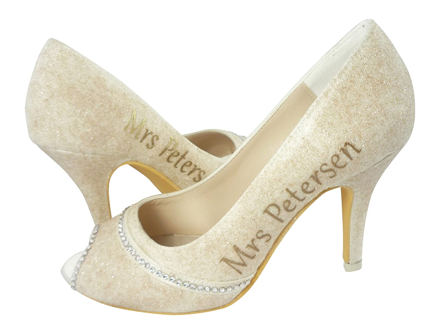 9895882529100 Amazon.com: You Pick Colors- Mrs All Glitter High Heel Wedding Shoes ...
