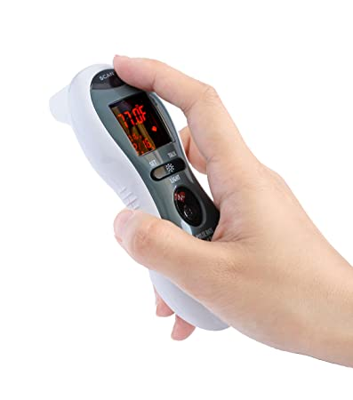 Mobi Ultra Pulse Ear and Forehead Talking Digital Thermometer with Pulse Rate Monitor, Flashlight,