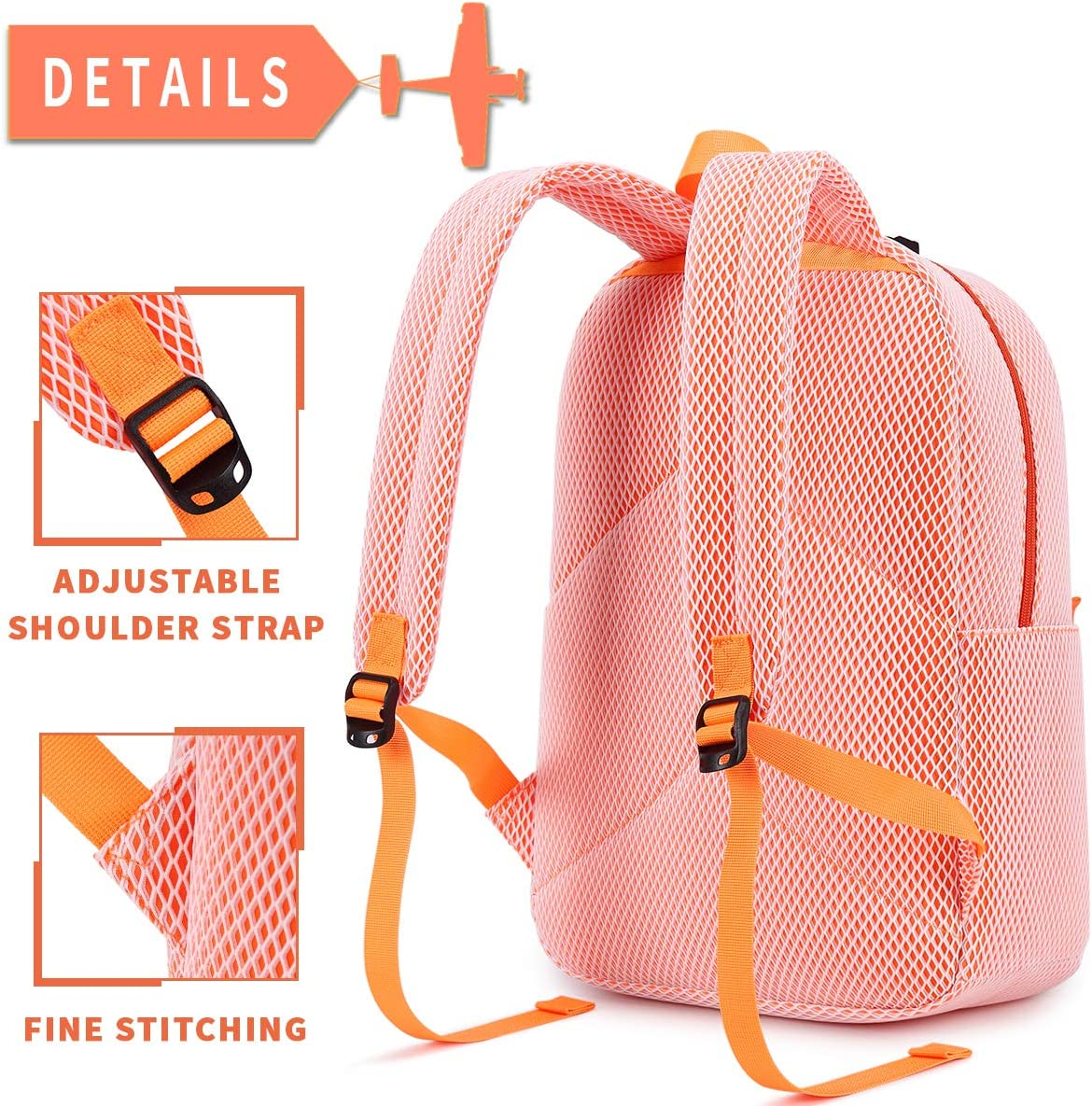 El-fmly Fashion Mesh Backpack for Travel Lightweight School Bookbag for Girls and Boys Yellow