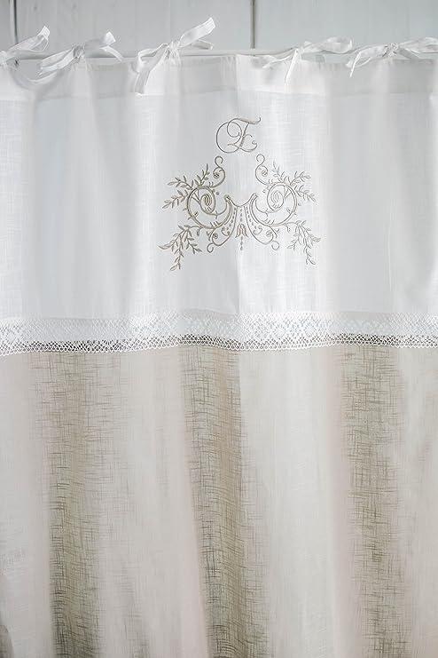 Flora cappuccino bestickt Vorhangset mit Spitzenborte 2x(120x250cm)  Vorhänge Vorhang Gardinen Shabby Chic Vintage Landhaus Franske Leinenoptik
