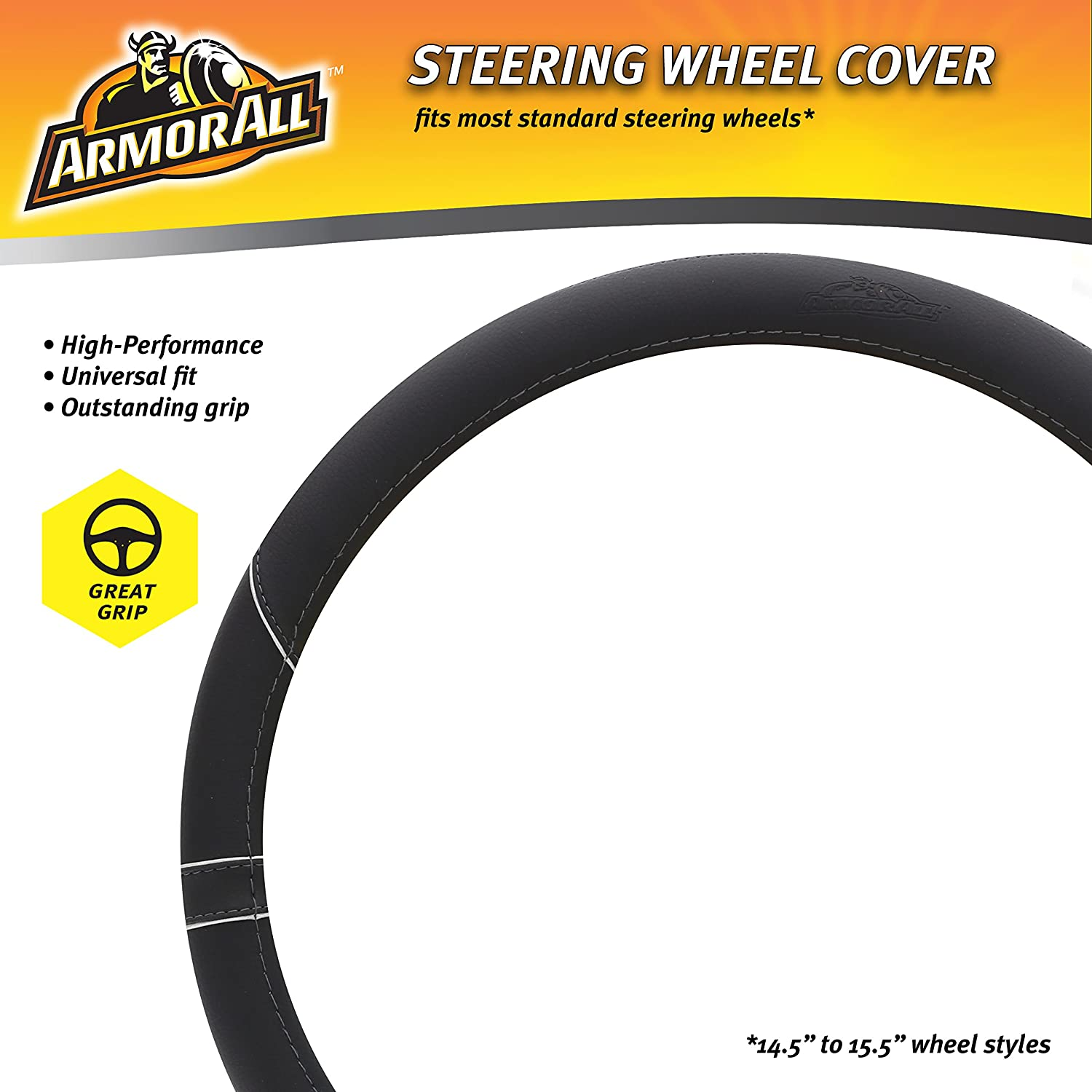 Cool Armor All Car Steering Wheel Cover Men /& Women Soft Black Leather With Silver Trim