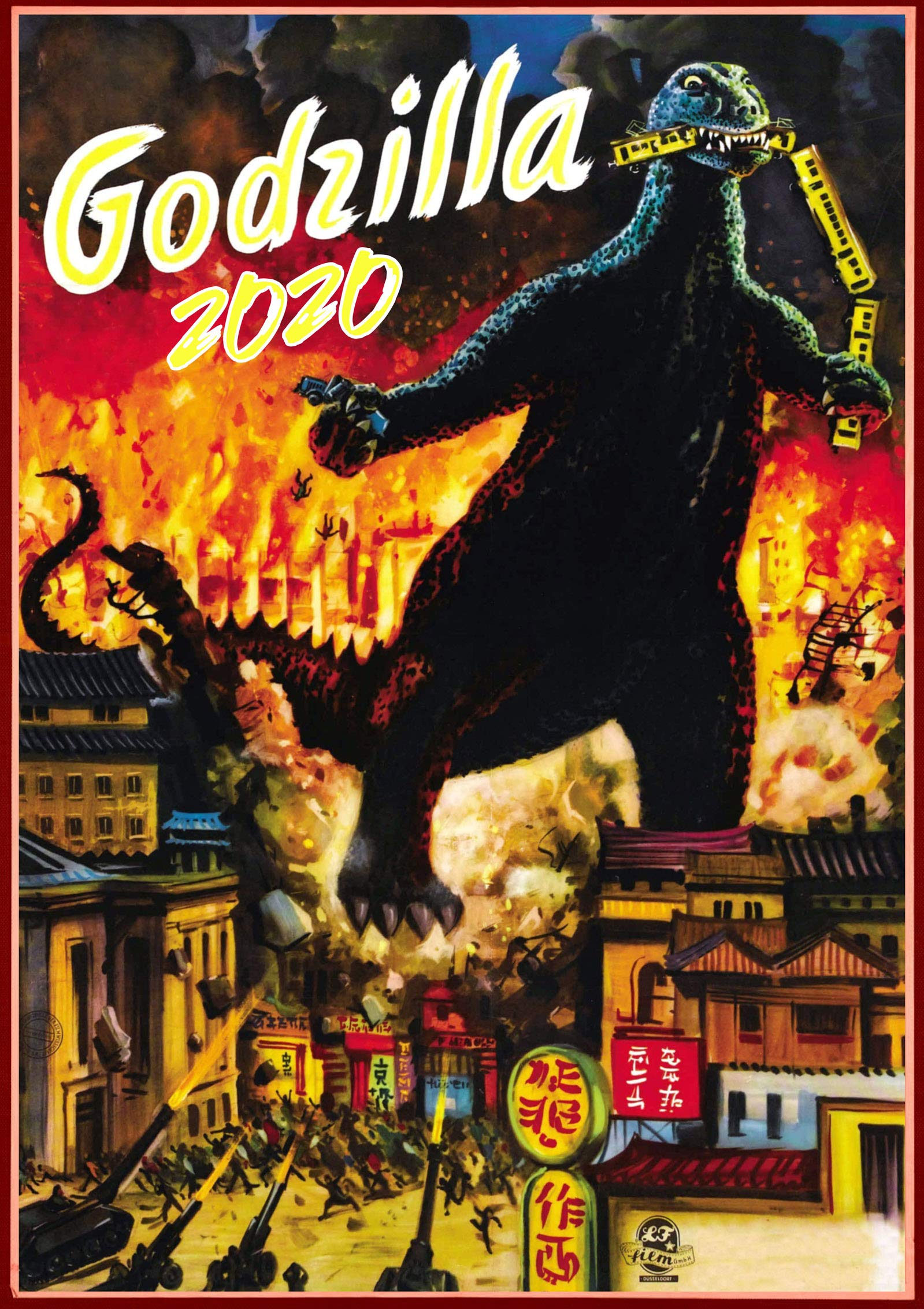 Godzilla Wall Calendar 2020 [12 pages 8''x11''] Kaiju Horror Sci Fi Giant Monster Vintage Trash Movie Posters M-435 by Pixiluv