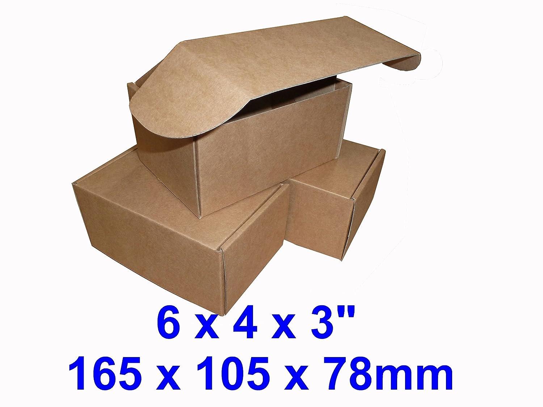 50 x cajas de correo Postal pequeña parcela cartón (marrón). 6 x 4 x 3