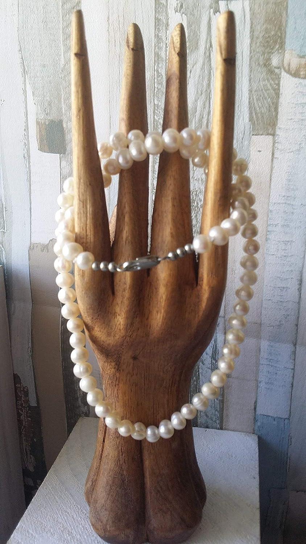Collar corto de perlas de rio naturales, hecho a mano de mujer, artesanal, regalo de navidad