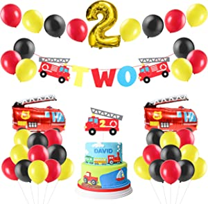 MALLMALL6 42Pack Firefighter Two Year Old Themed Party Supplies Fireman Two Birthday Party Favor Decoration Fire Truck 2nd Banner Cake Topper Balloon Decor Photo Prop for Kids Boys Girls Baby Shower