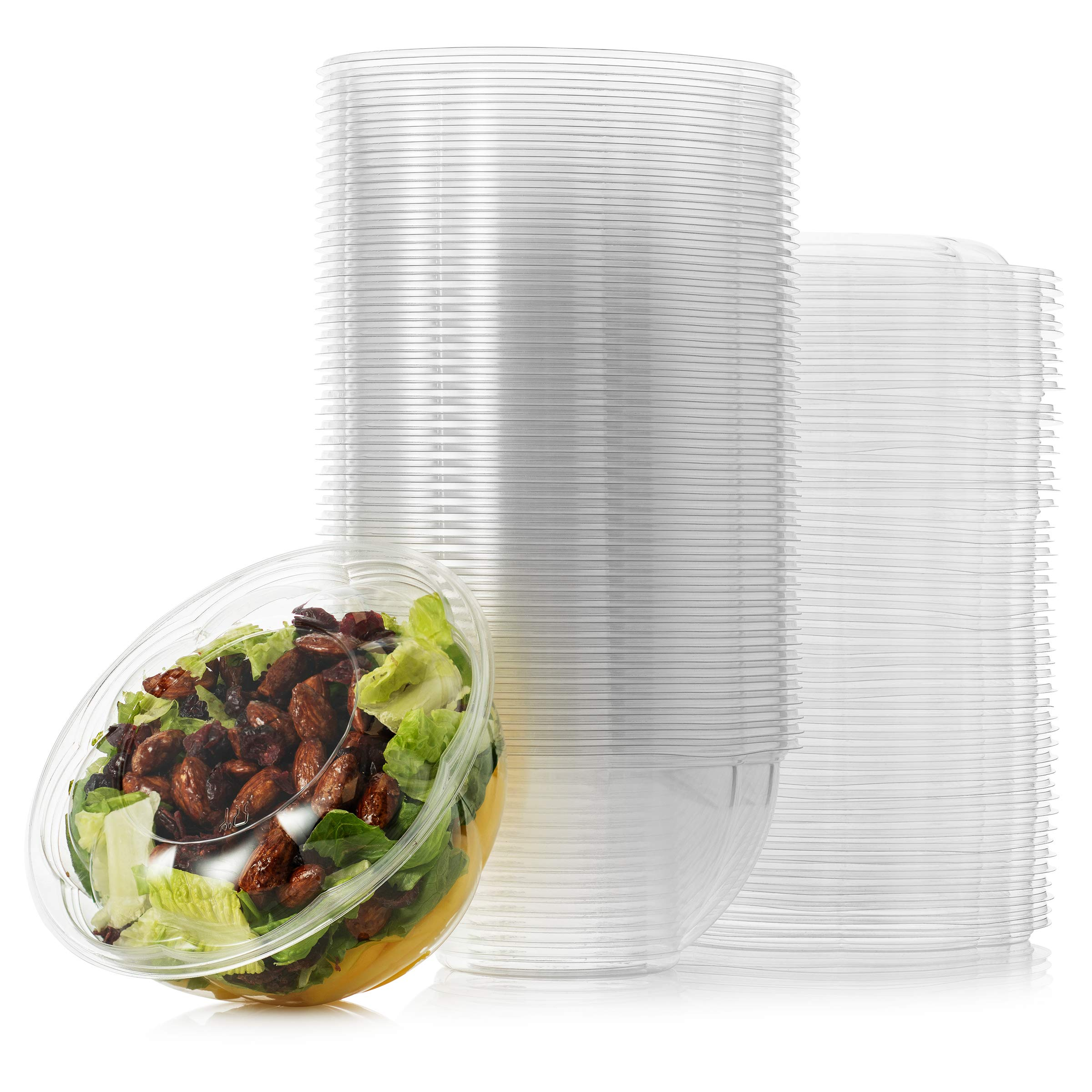 Plastic Salad Bowl by Green Direct - 24 oz Disposable Clear Mixing Bowl set with lid for chopped - iced - or fruit salad; Meal Prep - Lunch - To Go - Traveling & home use - Pack of 50