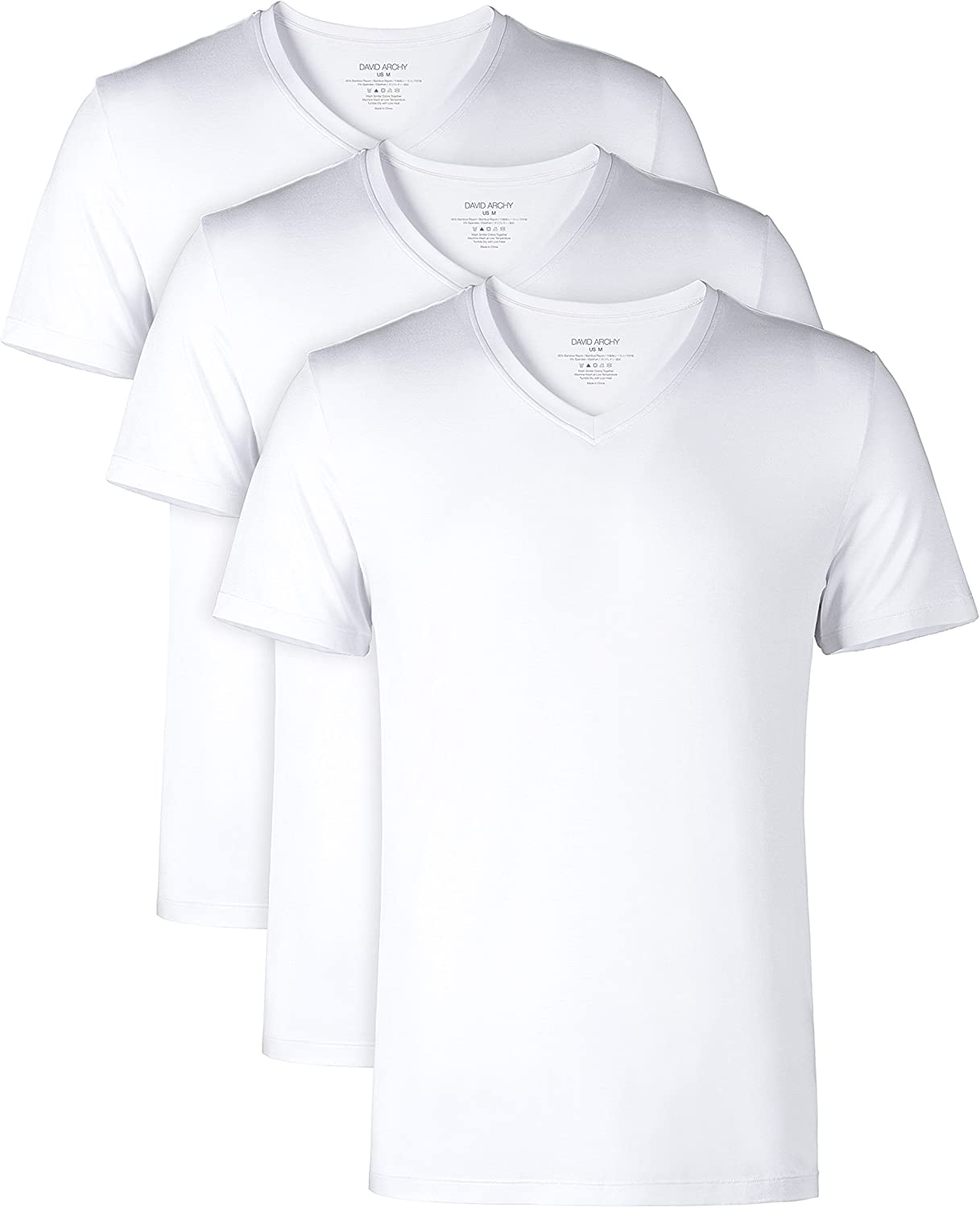 DAVID ARCHY Mens Undershirts Ultra Soft Micro Modal V-Neck Breathable T-Shirts 2 or 3 Pack