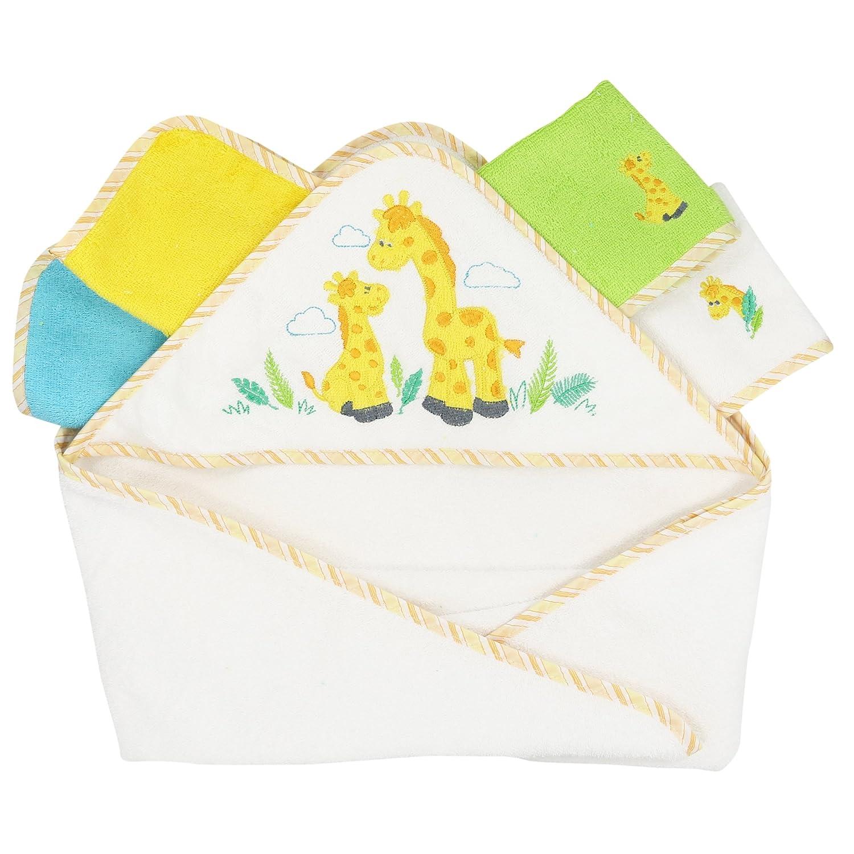 Spasilk 100/% Cotton Hooded Terry Bath Towel with 4 Washcloths Yellow Giraffe