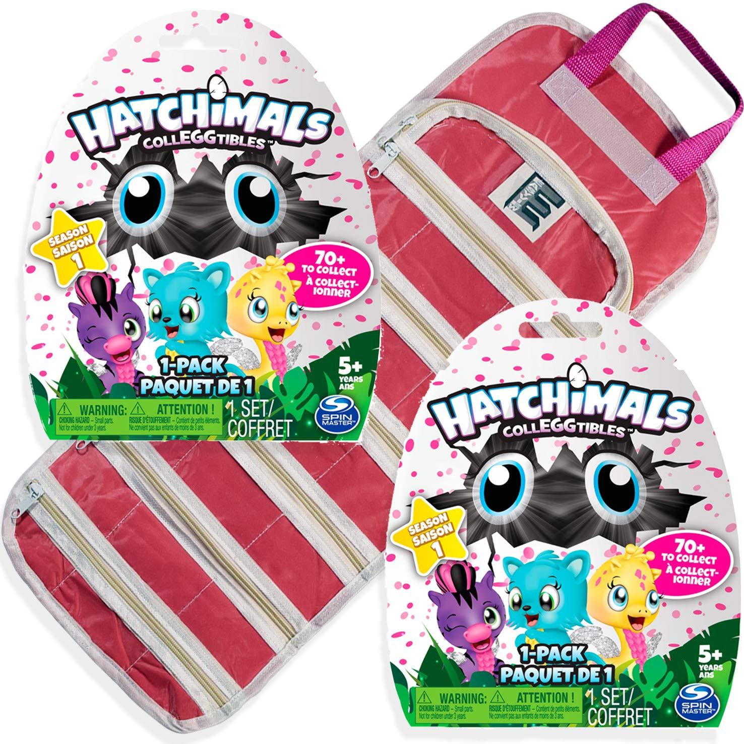 Pink-2PK EASYVIEW Toy Storage Organizer Case Compatible with Season 1 CollEGGtibles Egg 2X-Blind Packs,Hatchimals Bundle