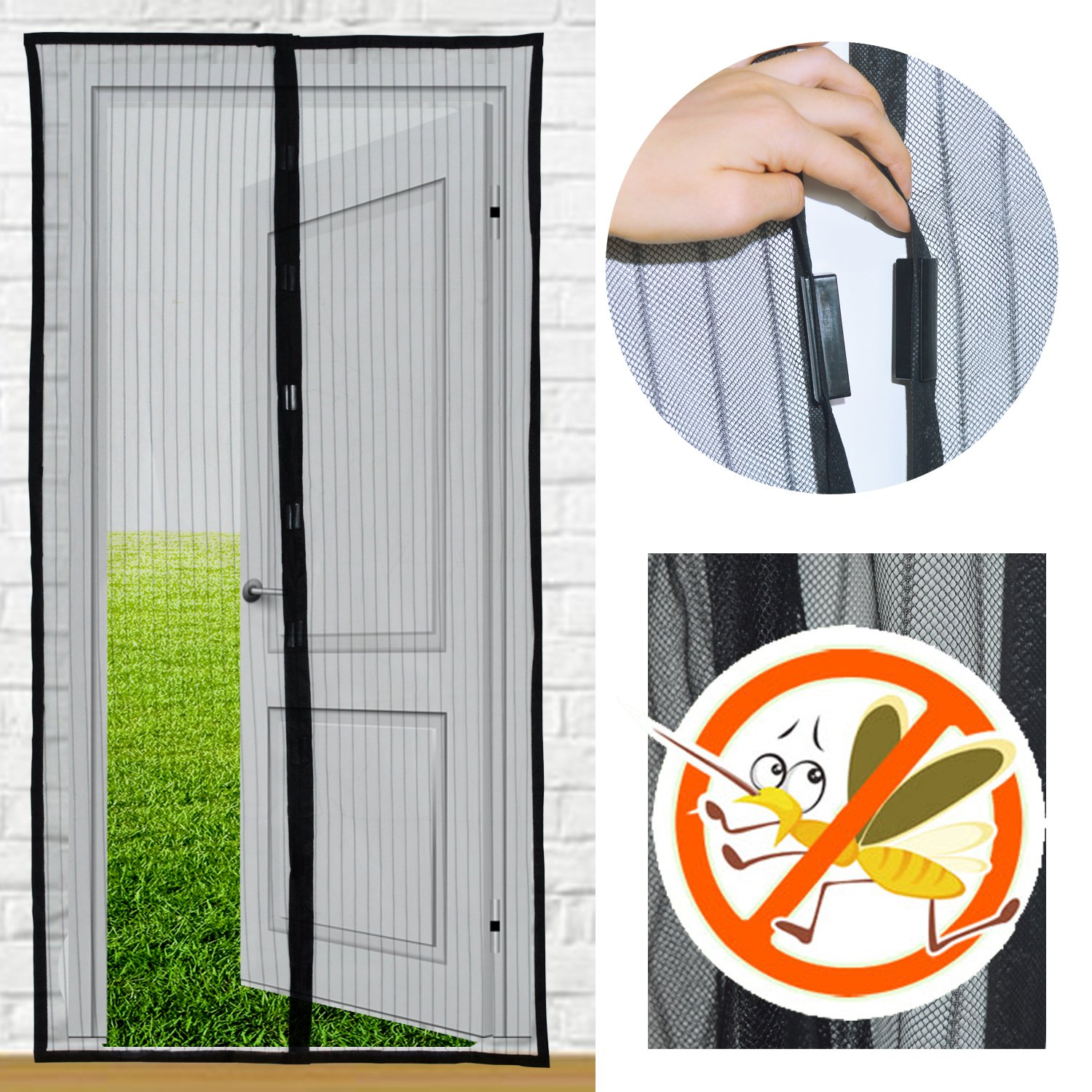 Amazon white hands free mesh screen door magnetic anti magnets screen doors yslf black full frame velcro magnetic screen for door magnetic door screen vtopaller Image collections