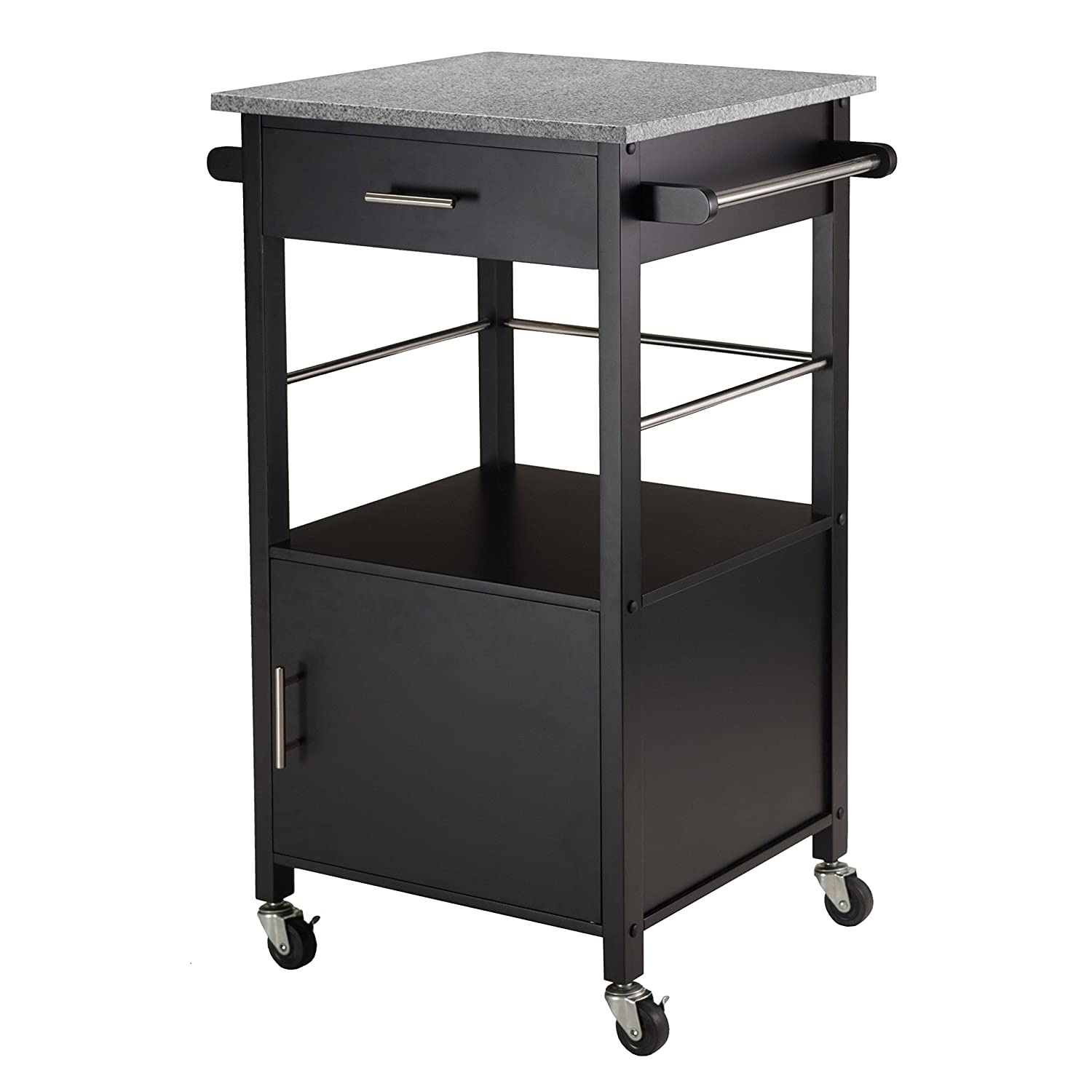 Amazon.com - Winsome Davenport Kitchen Cart with Granite Top ...