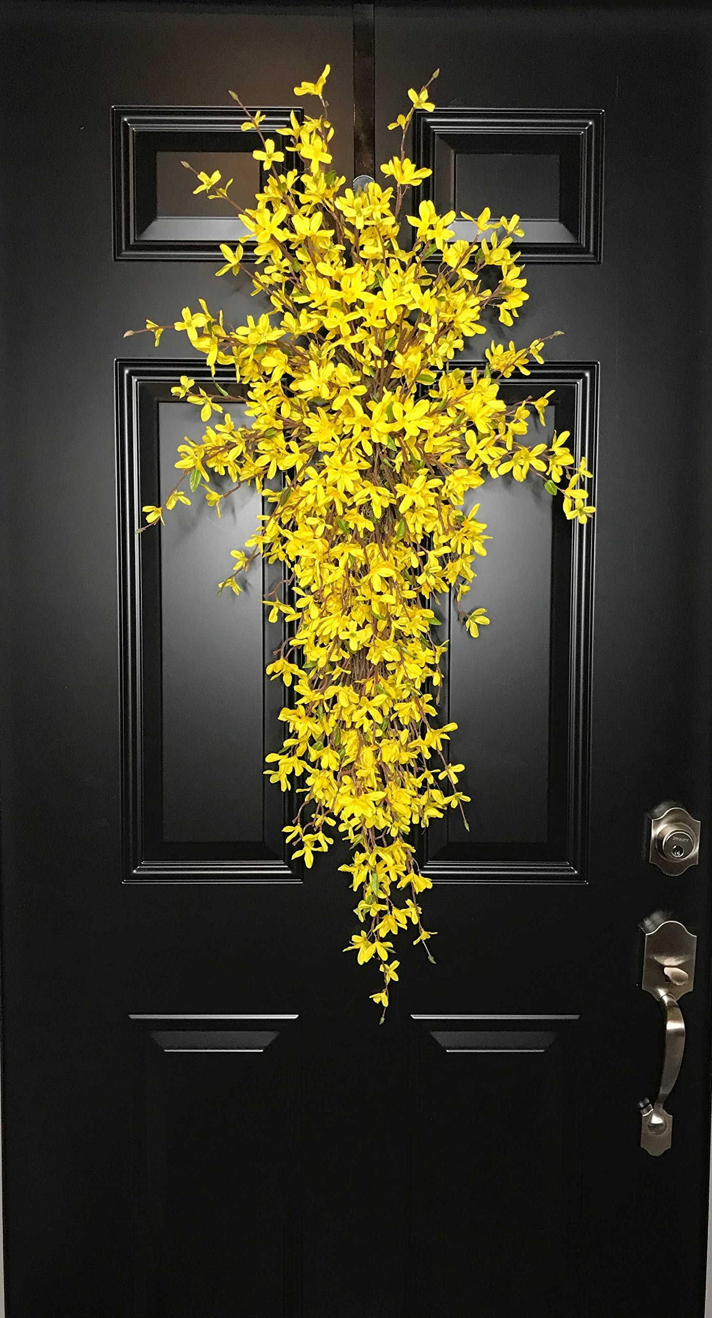 Extra Large Forsythia Floral Teardrop Swag Wreath for Front Door Porch Indoor Wall Farmhouse Decor Spring Springtime Summer Summertime Mother's Day Easter, Handmade, Yellow, 3 Sizes-42'', 36'', 30'' L by Wreath and Vine, LLC (Image #2)