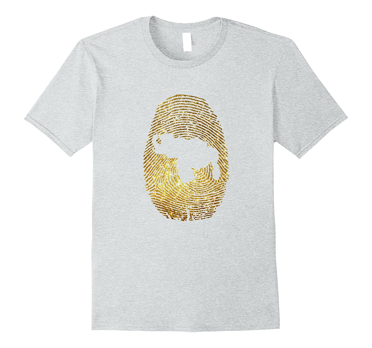 VENEZUELA FINGERPRINT GOLD GLITTER EFFECT PRINT SHIRT-BN
