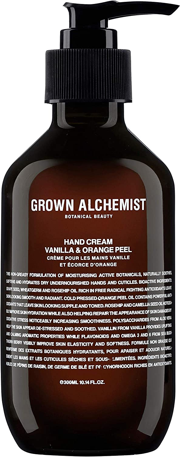 Grown Alchemist Hand Cream - Vanilla & Orange Peel - Hand & Cuticle Lotion Made with Organic Ingredients (300ml / 10.14oz)
