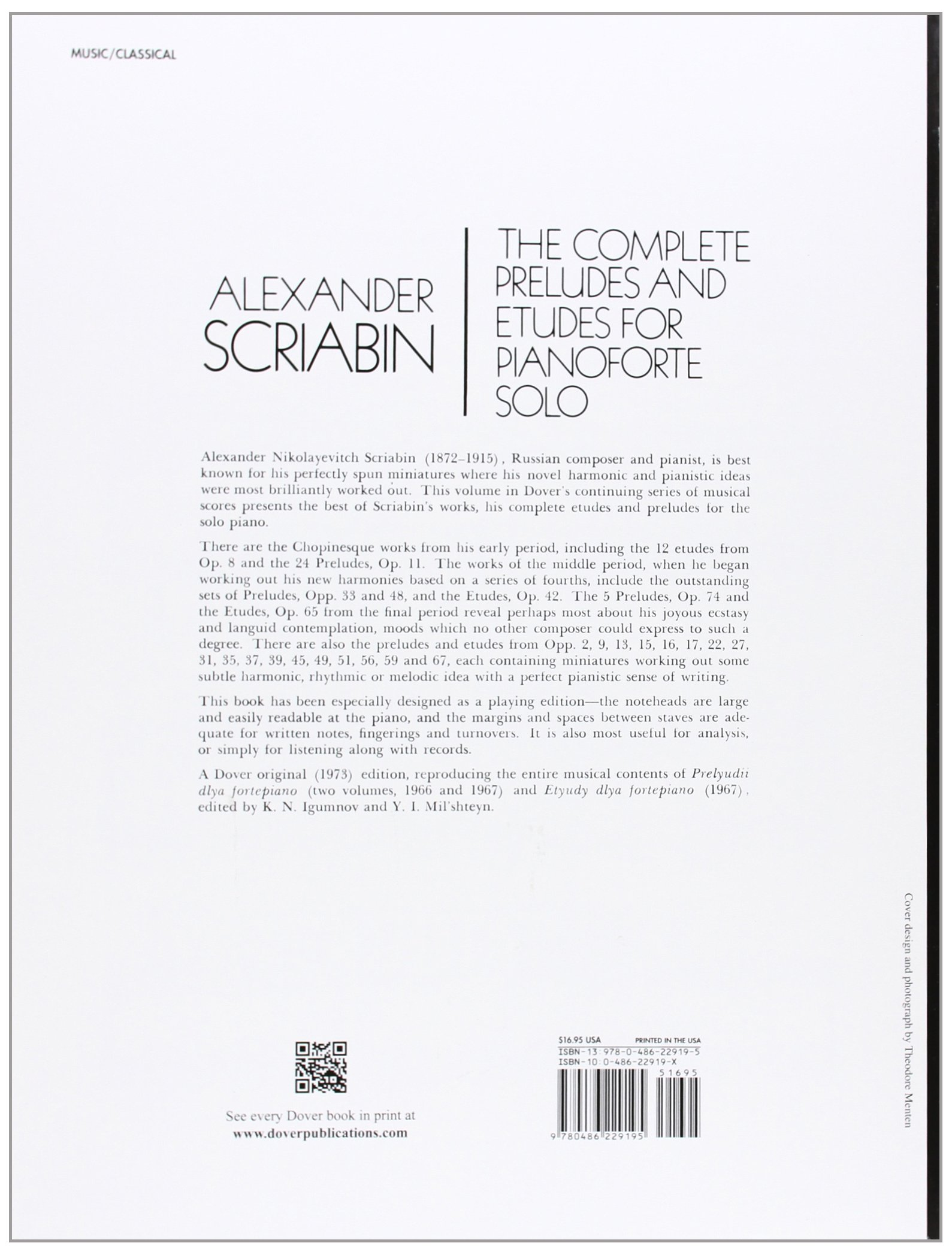 The Complete Preludes and Etudes for Pianoforte Solo (Dover Music for Piano):  Alexander Scriabin: 9780486229195: Amazon.com: Books
