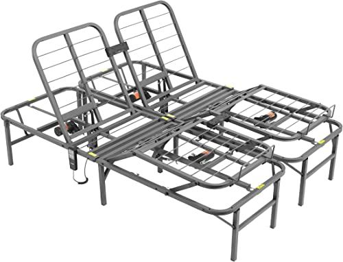 PragmaBed Pragmatic Adjustable Bed Frame, Head and Foot, Queen, Gray