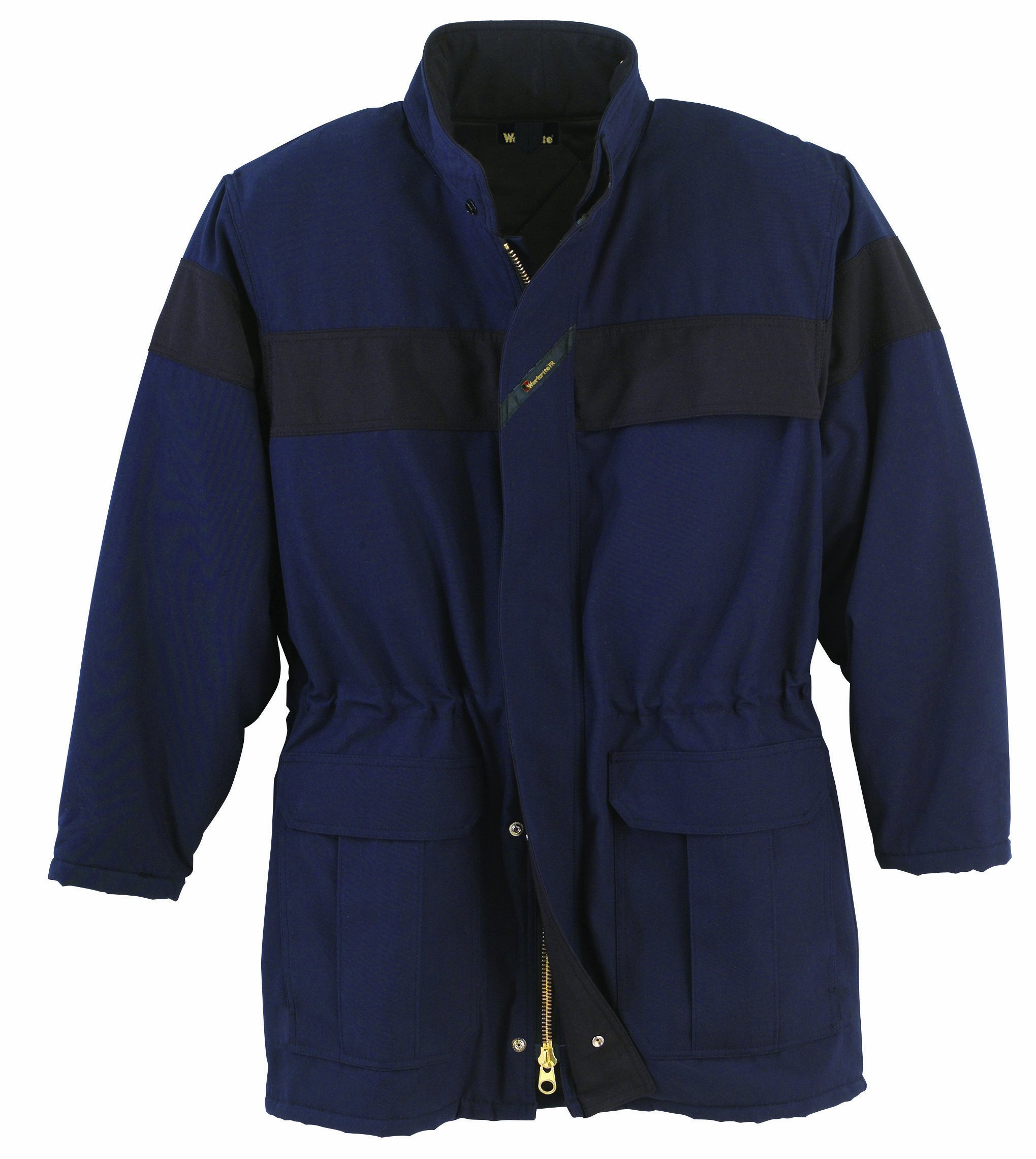Workrite FR Flame Resistant 7 oz UltraSoft Insulated Parka, Rib-Knit Cuff, Large, Regular Length, Navy Blue